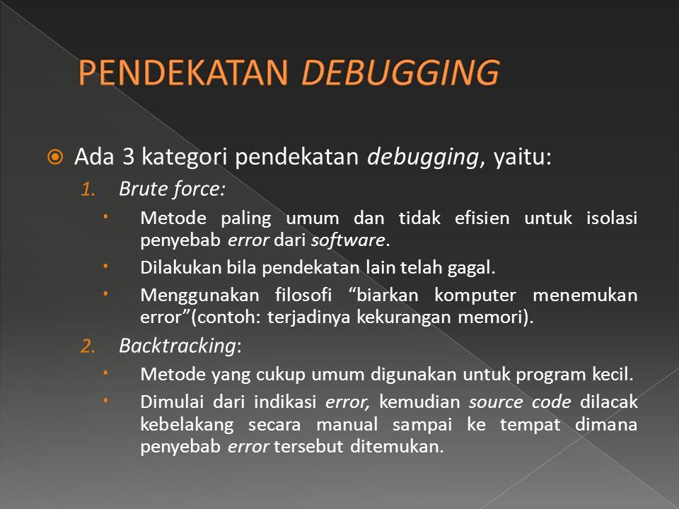 PENDEKATAN DEBUGGING Ada 3 kategori pendekatan debugging, yaitu: