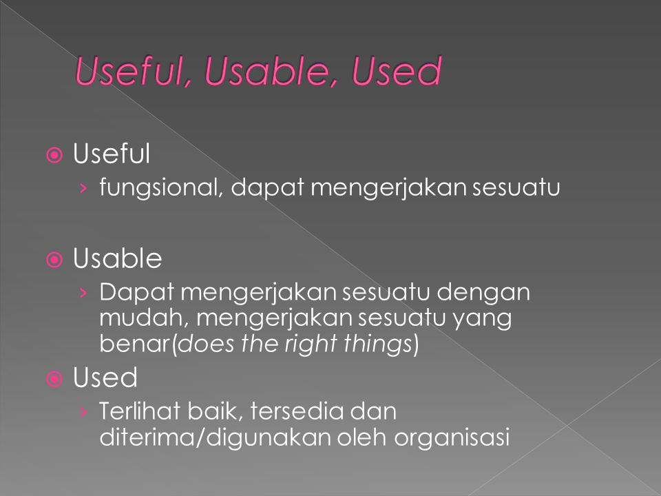 Useful, Usable, Used Useful Usable Used
