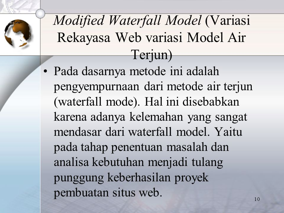 Modified Waterfall Model (Variasi Rekayasa Web variasi Model Air Terjun)
