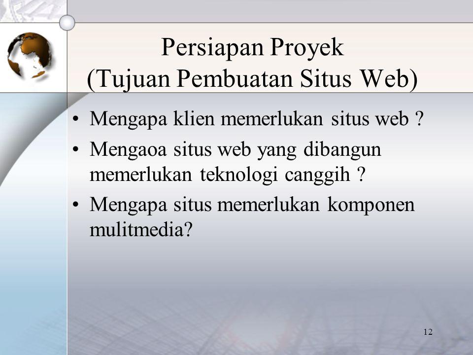Persiapan Proyek (Tujuan Pembuatan Situs Web)