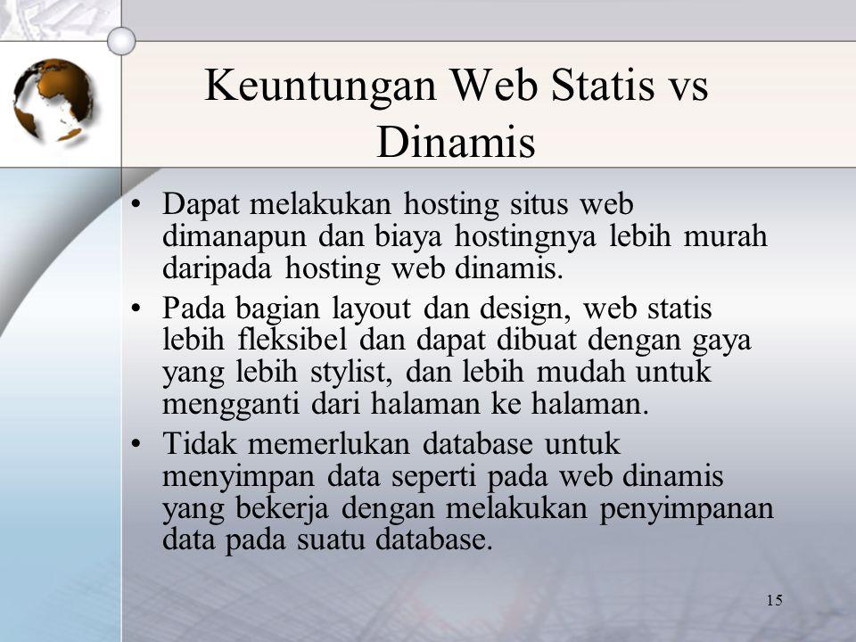 Keuntungan Web Statis vs Dinamis