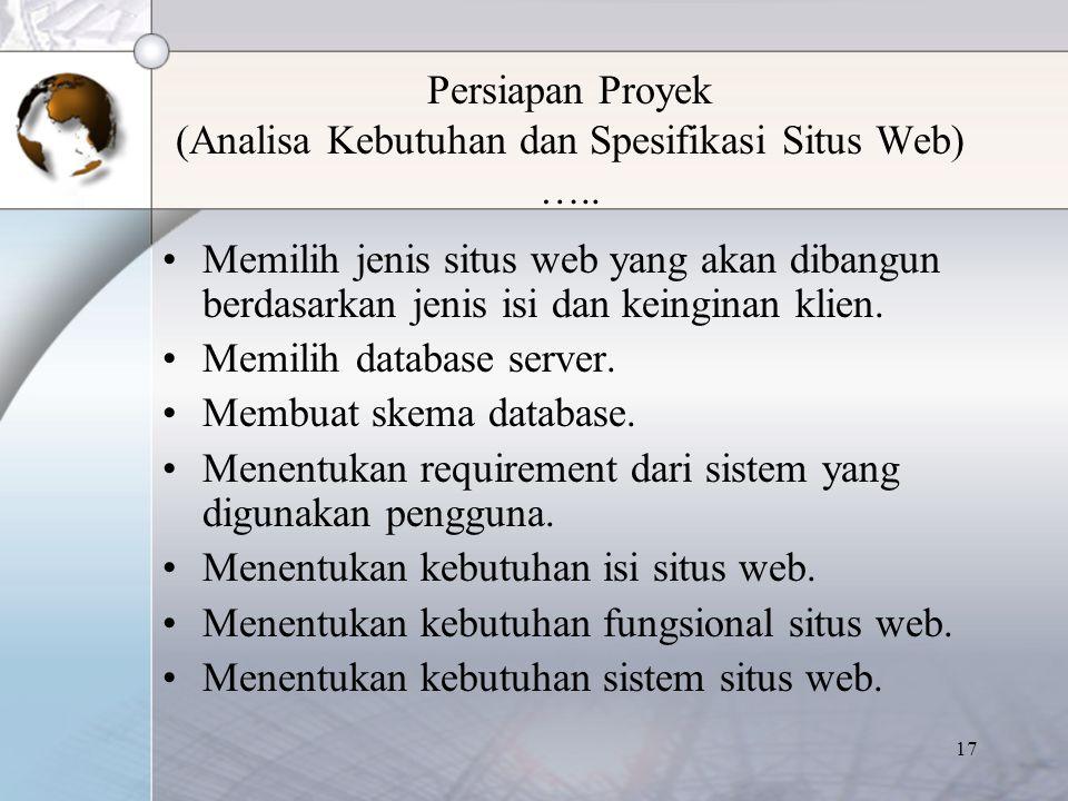 Persiapan Proyek (Analisa Kebutuhan dan Spesifikasi Situs Web) …..