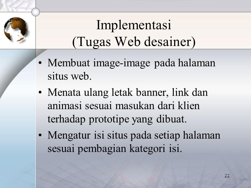 Implementasi (Tugas Web desainer)