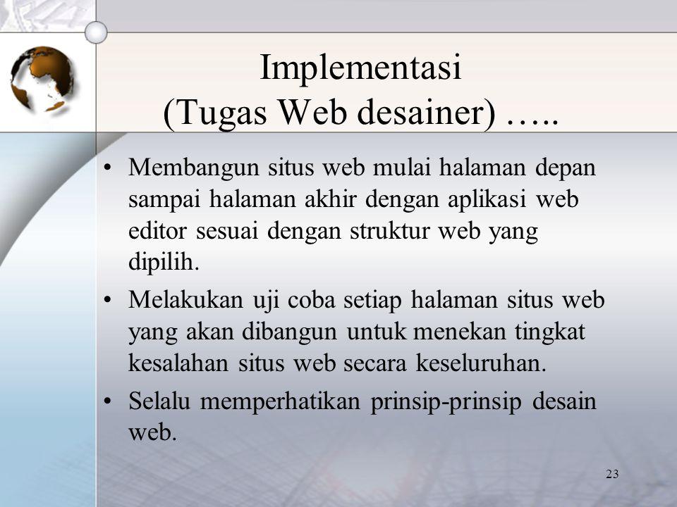 Implementasi (Tugas Web desainer) …..