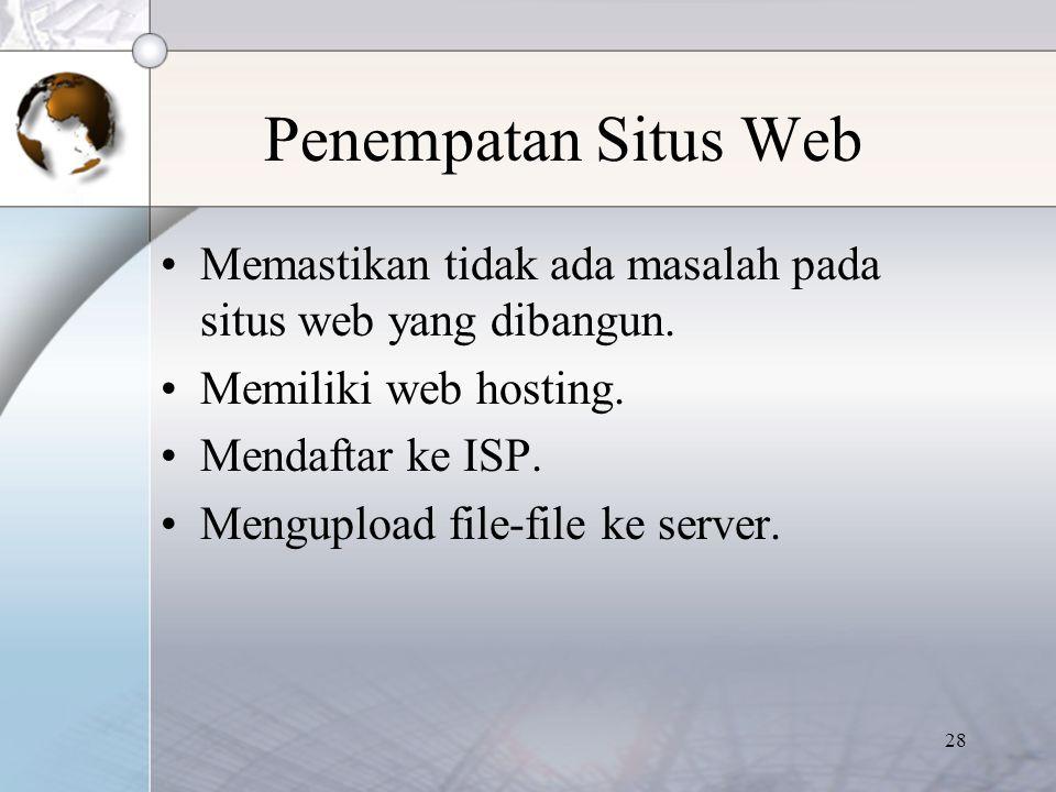 Penempatan Situs Web Memastikan tidak ada masalah pada situs web yang dibangun. Memiliki web hosting.