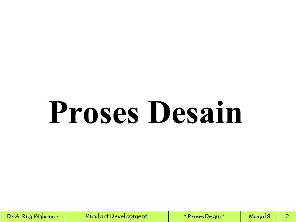 Proses Desain Product Development Dr A. Riza Wahono :