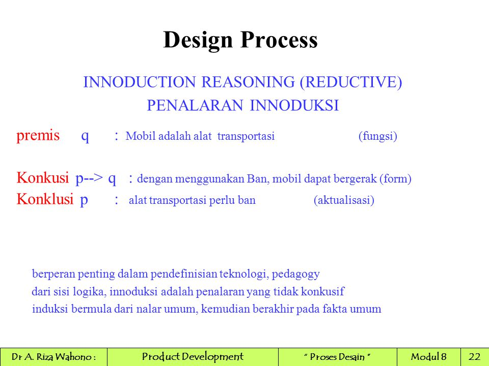 INNODUCTION REASONING (REDUCTIVE)