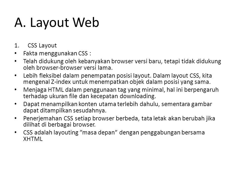 A. Layout Web CSS Layout Fakta menggunakan CSS :