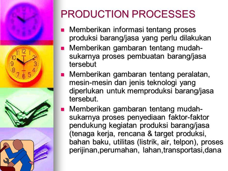 PRODUCTION PROCESSES Memberikan informasi tentang proses produksi barang/jasa yang perlu dilakukan.