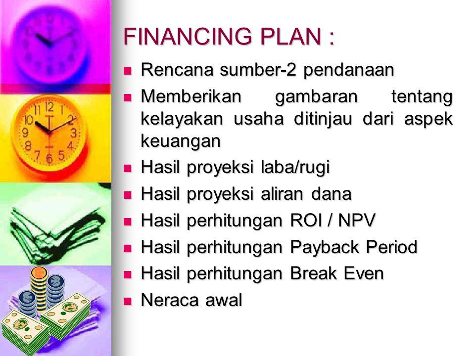 FINANCING PLAN : Rencana sumber-2 pendanaan