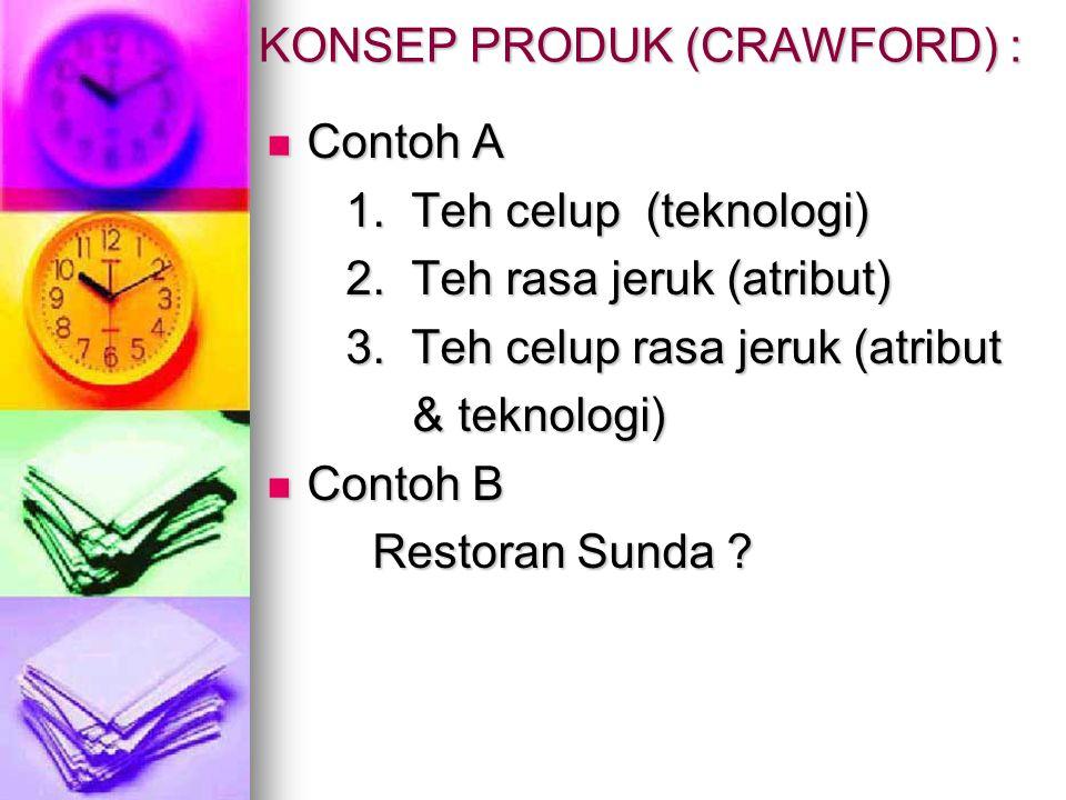 KONSEP PRODUK (CRAWFORD) :