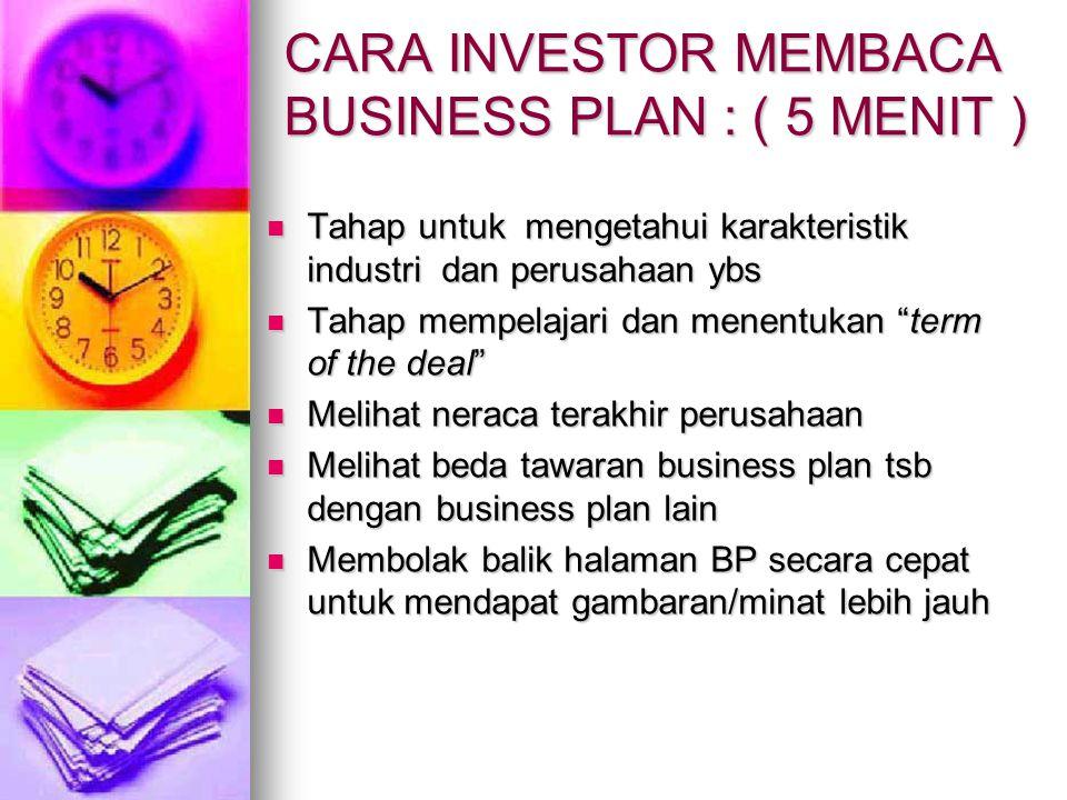 CARA INVESTOR MEMBACA BUSINESS PLAN : ( 5 MENIT )