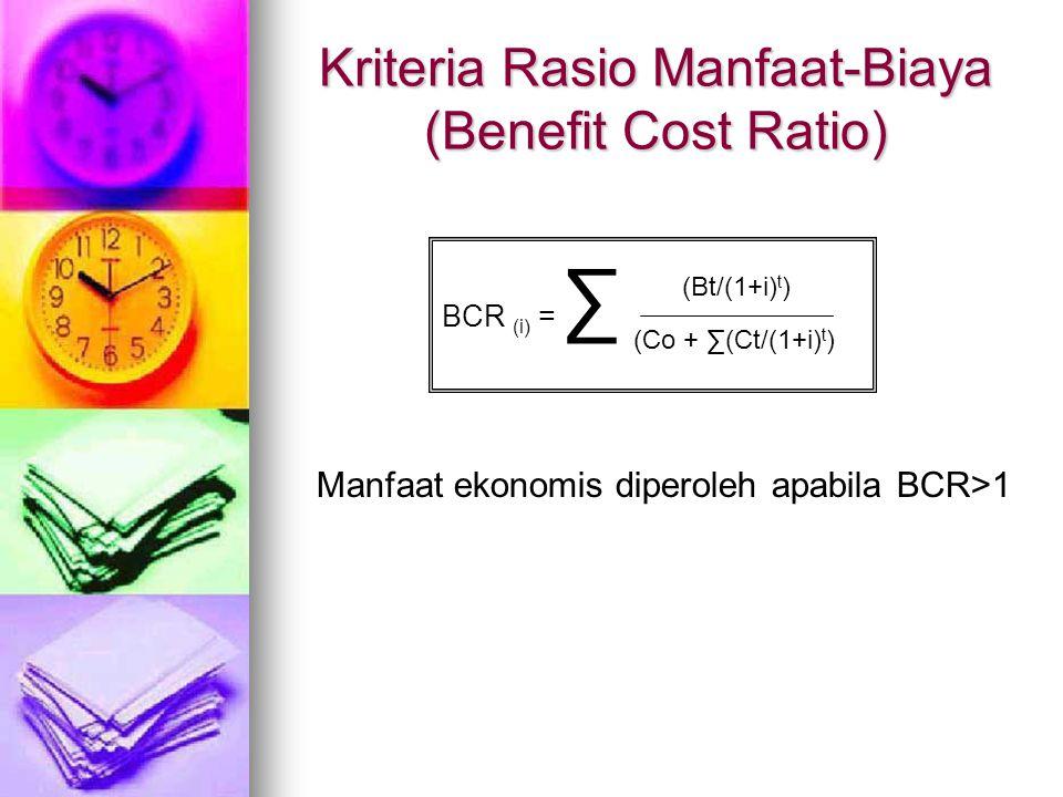 Kriteria Rasio Manfaat-Biaya (Benefit Cost Ratio)