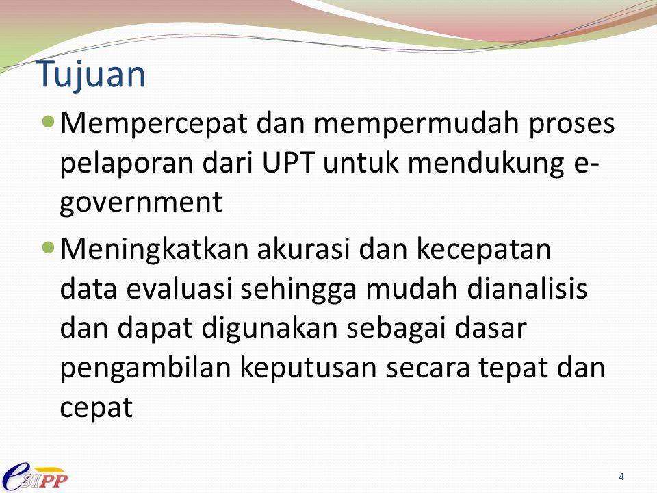 Tujuan Mempercepat dan mempermudah proses pelaporan dari UPT untuk mendukung e-government.