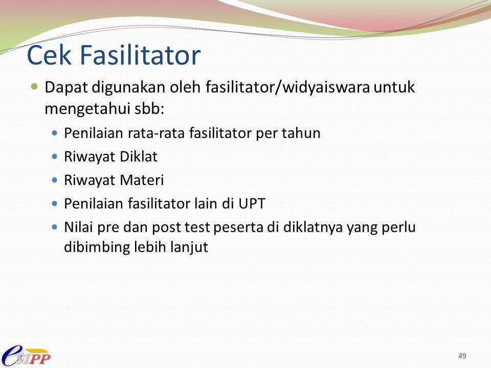 Cek Fasilitator Dapat digunakan oleh fasilitator/widyaiswara untuk mengetahui sbb: Penilaian rata-rata fasilitator per tahun.