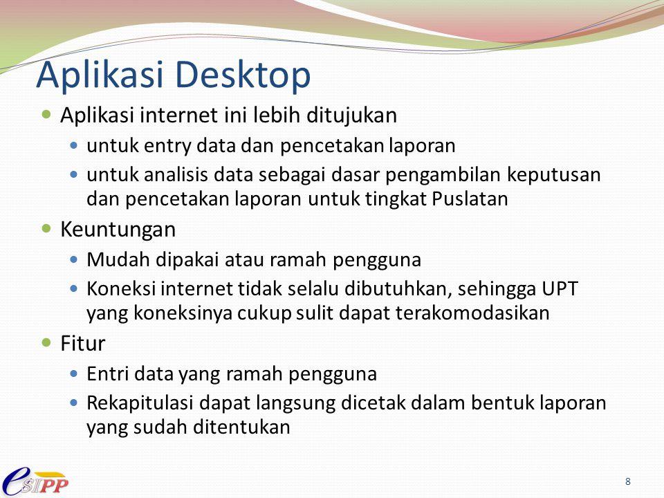 Aplikasi Desktop Aplikasi internet ini lebih ditujukan Keuntungan