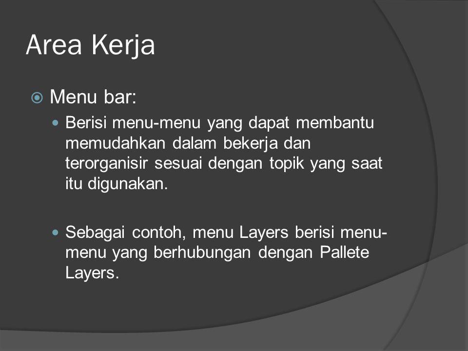 Area Kerja Menu bar: Berisi menu-menu yang dapat membantu memudahkan dalam bekerja dan terorganisir sesuai dengan topik yang saat itu digunakan.