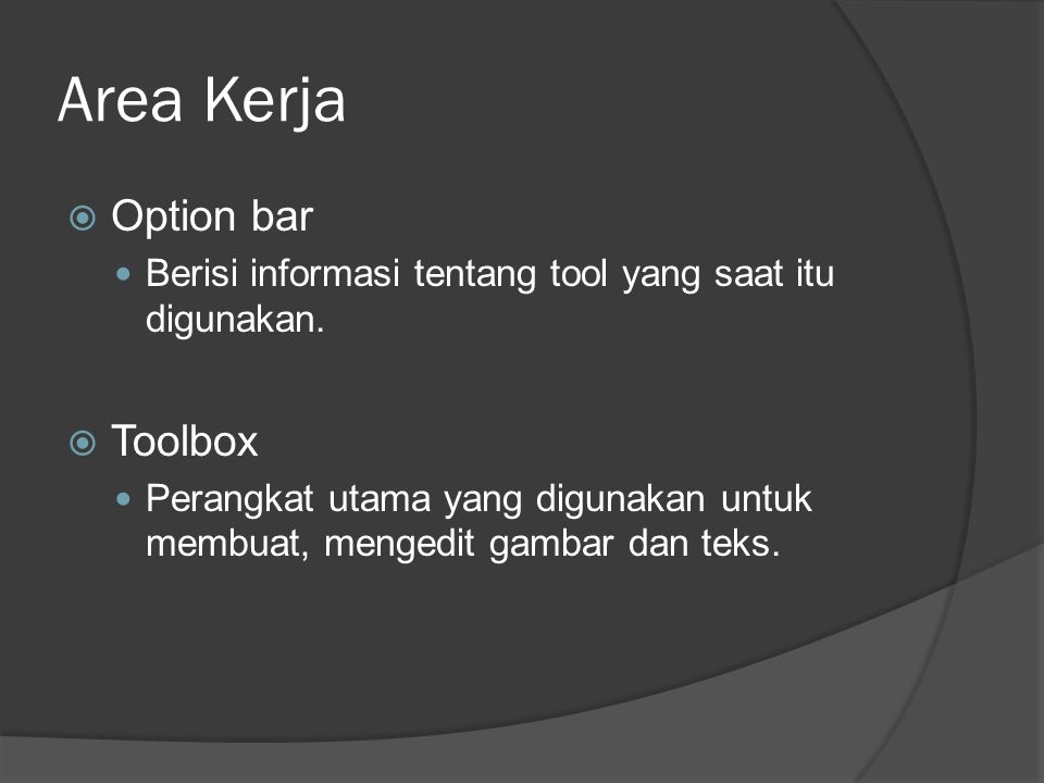 Area Kerja Option bar Toolbox