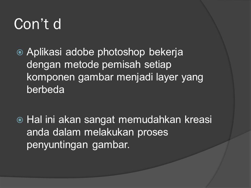 Con't d Aplikasi adobe photoshop bekerja dengan metode pemisah setiap komponen gambar menjadi layer yang berbeda.