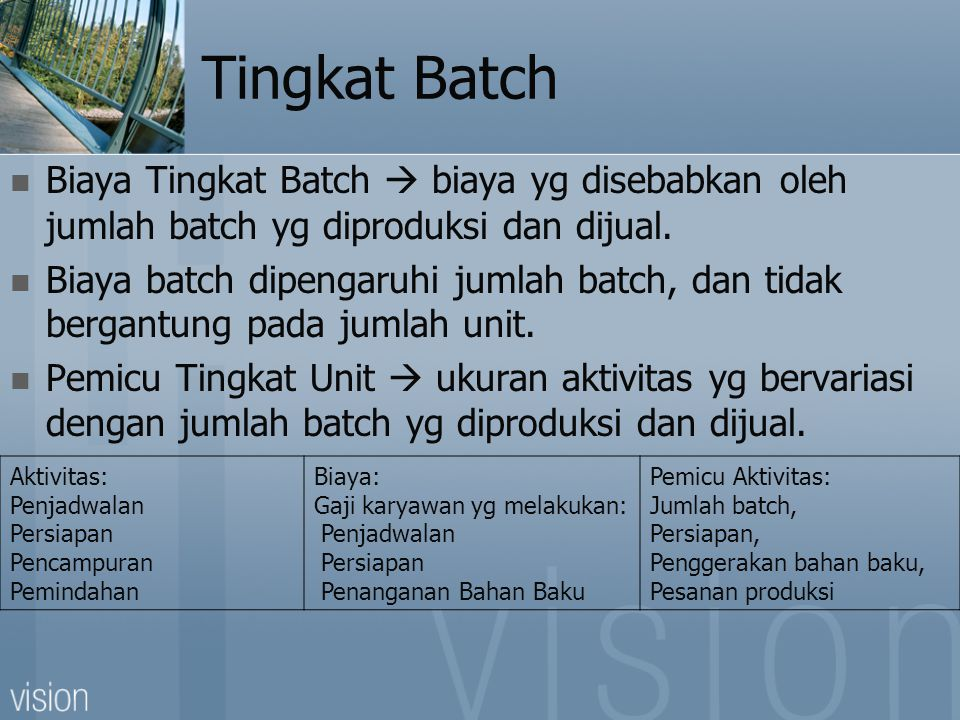 Tingkat Batch Biaya Tingkat Batch  biaya yg disebabkan oleh jumlah batch yg diproduksi dan dijual.