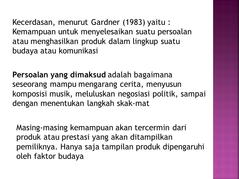 Kecerdasan, menurut Gardner (1983) yaitu :