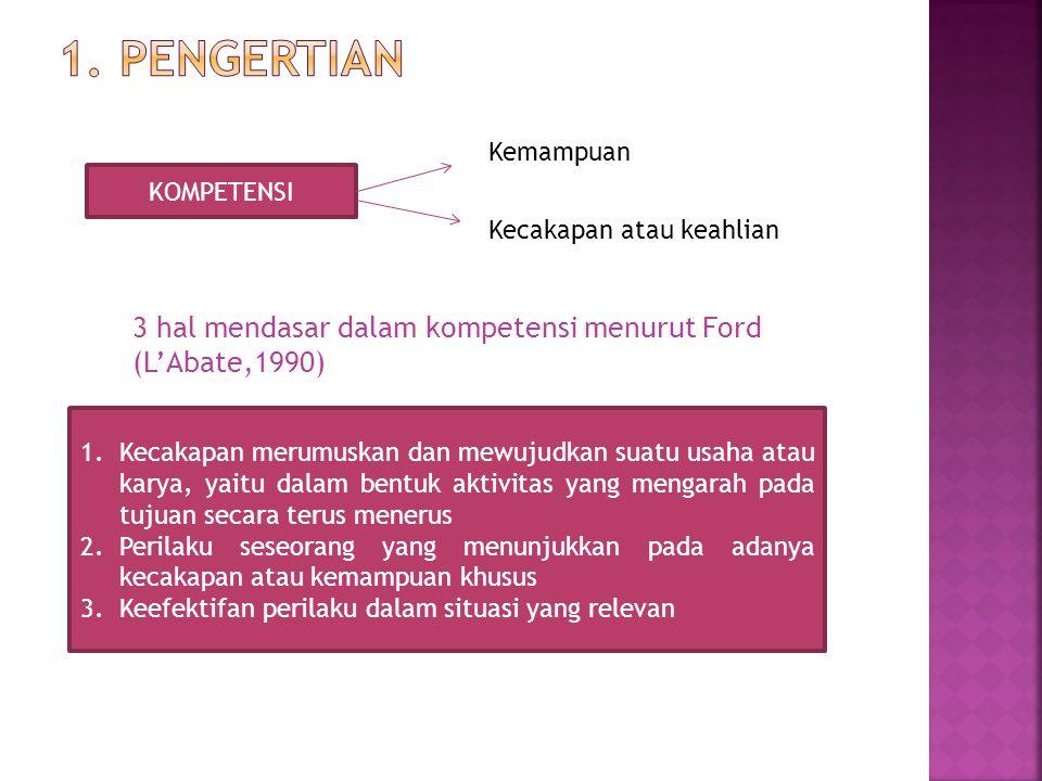 1. pengertian Kemampuan. KOMPETENSI. Kecakapan atau keahlian. 3 hal mendasar dalam kompetensi menurut Ford (L'Abate,1990)
