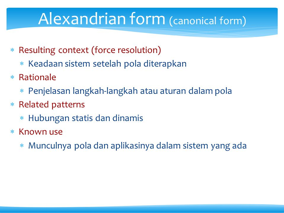Alexandrian form (canonical form)
