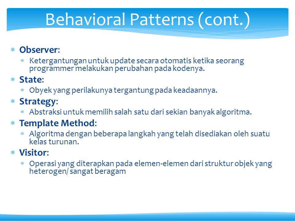 Behavioral Patterns (cont.)