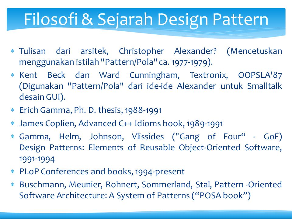 Filosofi & Sejarah Design Pattern