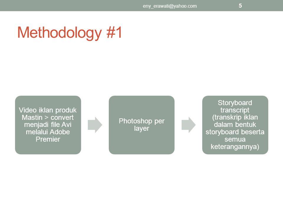 eny_erawati@yahoo.com Methodology #1. Video iklan produk Mastin > convert menjadi file Avi melalui Adobe Premier.