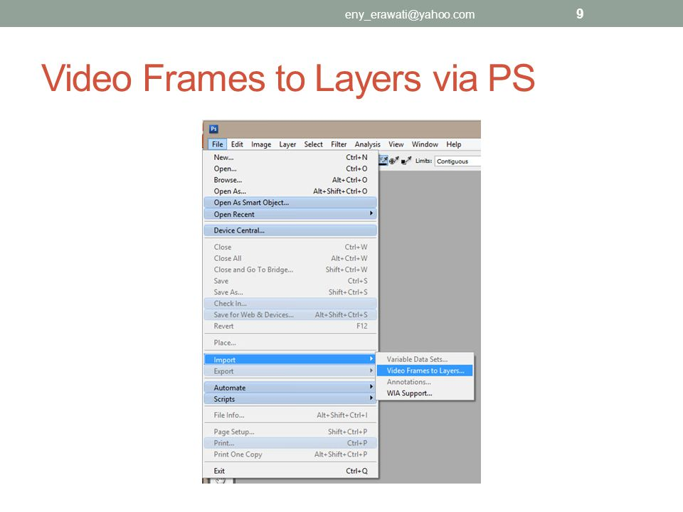 Video Frames to Layers via PS