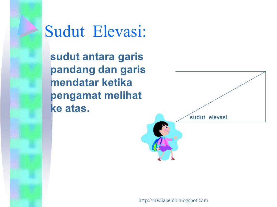 Sudut Elevasi: sudut antara garis pandang dan garis mendatar ketika pengamat melihat ke atas. sudut elevasi.