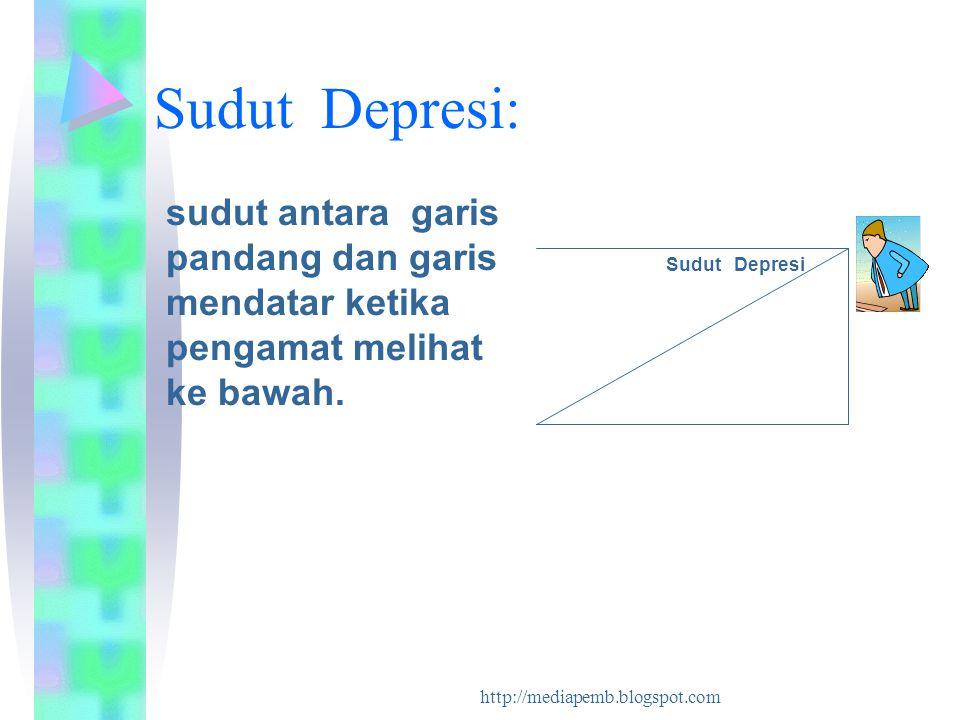 Sudut Depresi: sudut antara garis pandang dan garis mendatar ketika pengamat melihat ke bawah. Sudut Depresi.