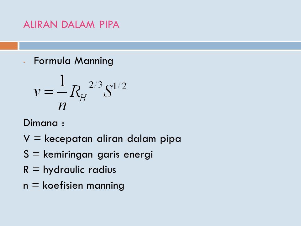 ALIRAN DALAM PIPA Formula Manning. Dimana : V = kecepatan aliran dalam pipa. S = kemiringan garis energi.