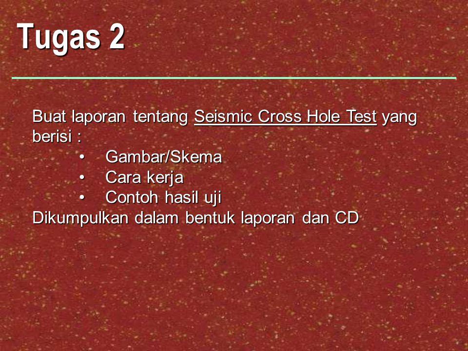 Tugas 2 Buat laporan tentang Seismic Cross Hole Test yang berisi :