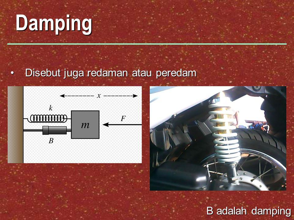 Damping Disebut juga redaman atau peredam B adalah damping