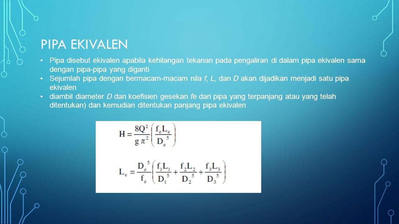 Pipa ekivalen Pipa disebut ekivalen apabila kehilangan tekanan pada pengaliran di dalam pipa ekivalen sama dengan pipa-pipa yang diganti.