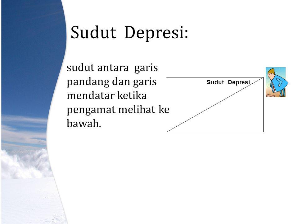 Sudut Depresi: sudut antara garis pandang dan garis mendatar ketika pengamat melihat ke bawah.