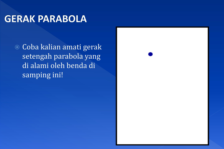GERAK PARABOLA Coba kalian amati gerak setengah parabola yang di alami oleh benda di samping ini!