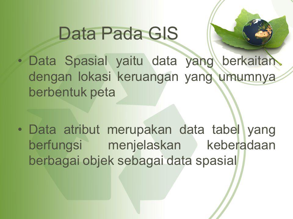 Data Pada GIS Data Spasial yaitu data yang berkaitan dengan lokasi keruangan yang umumnya berbentuk peta.
