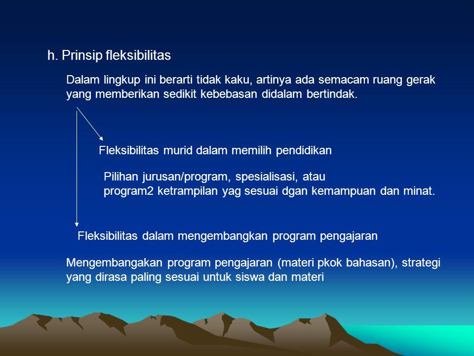 h. Prinsip fleksibilitas