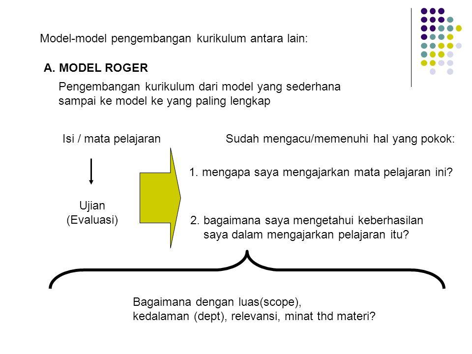 Model-model pengembangan kurikulum antara lain:
