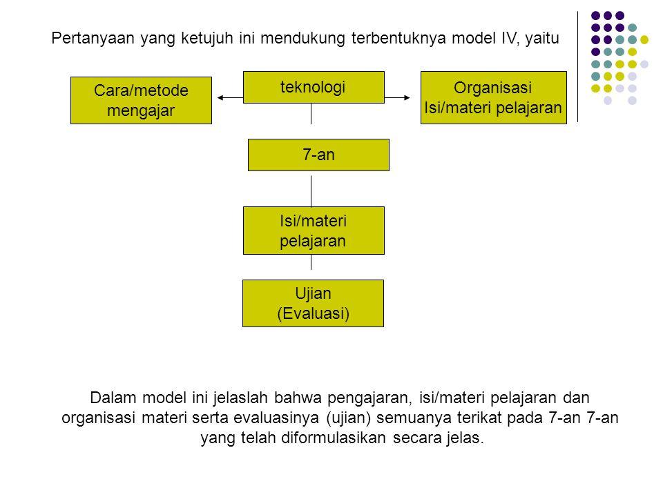 Pertanyaan yang ketujuh ini mendukung terbentuknya model IV, yaitu