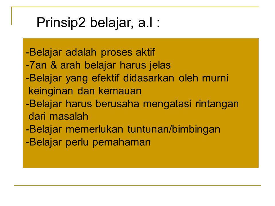 Prinsip2 belajar, a.l : Belajar adalah proses aktif