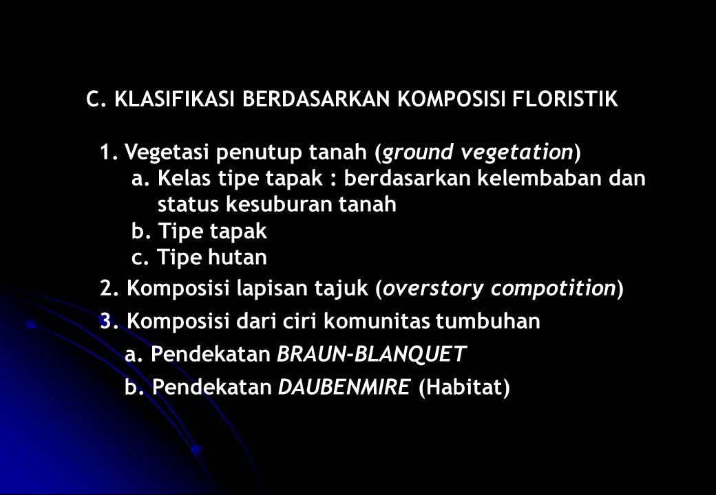 C. KLASIFIKASI BERDASARKAN KOMPOSISI FLORISTIK