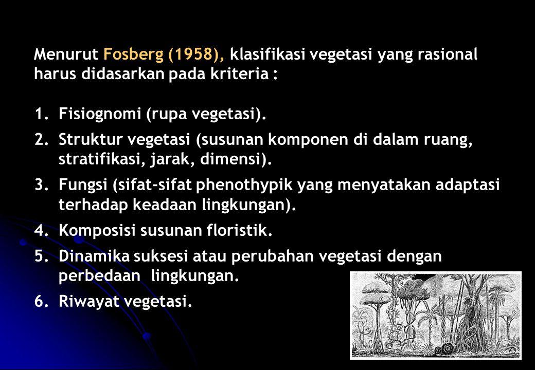 Menurut Fosberg (1958), klasifikasi vegetasi yang rasional harus didasarkan pada kriteria :