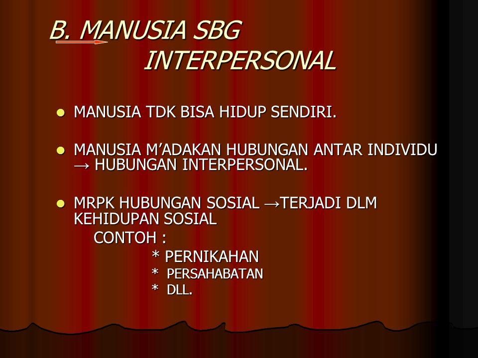 B. MANUSIA SBG INTERPERSONAL