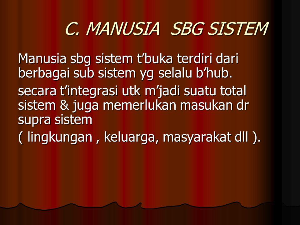 C. MANUSIA SBG SISTEM Manusia sbg sistem t'buka terdiri dari berbagai sub sistem yg selalu b'hub.