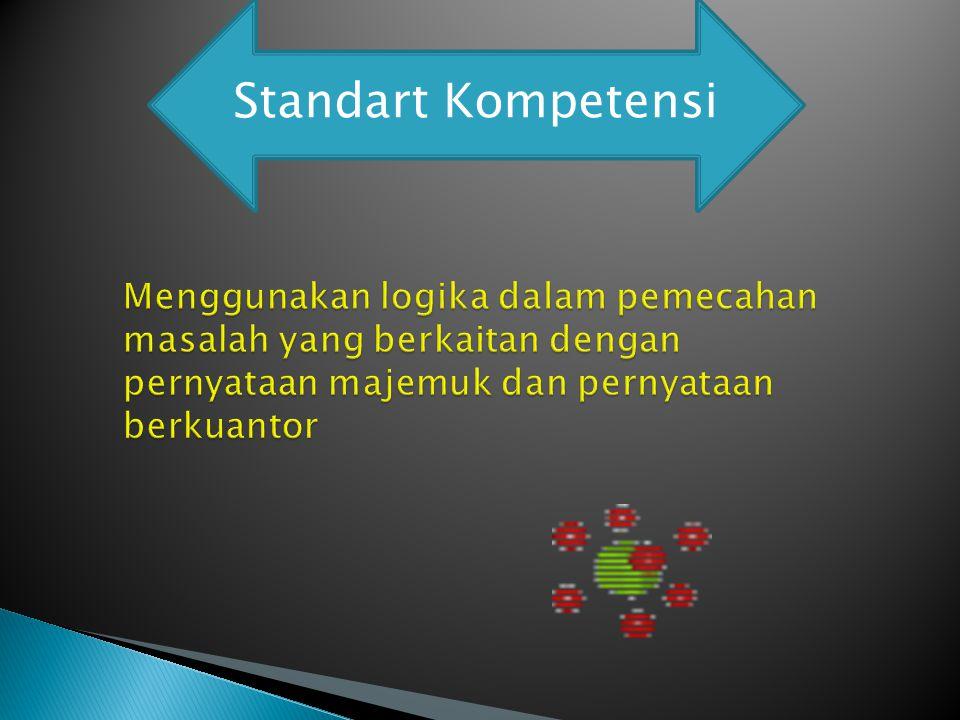 Standart Kompetensi Menggunakan logika dalam pemecahan masalah yang berkaitan dengan pernyataan majemuk dan pernyataan berkuantor.