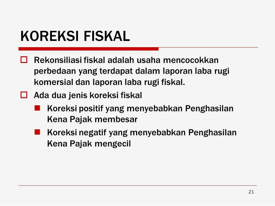 KOREKSI FISKAL Rekonsiliasi fiskal adalah usaha mencocokkan perbedaan yang terdapat dalam laporan laba rugi komersial dan laporan laba rugi fiskal.